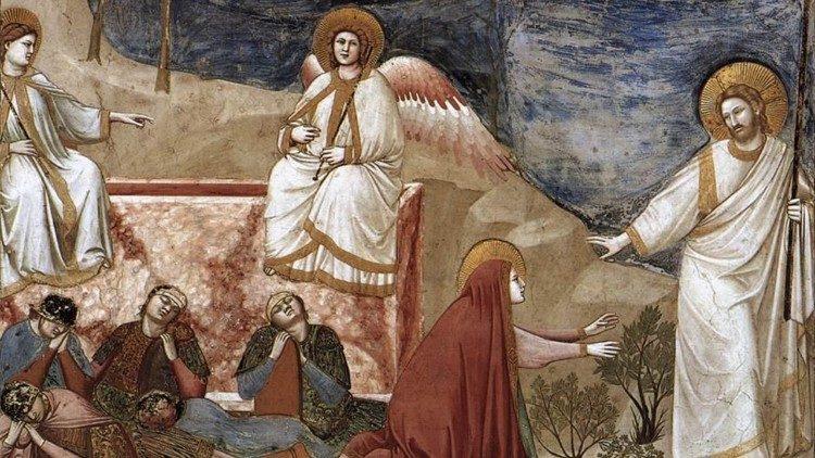 Marie Madeleine et le Ressuscité, fresque de Giotto, chapelle des Scrovegni (Padoue)