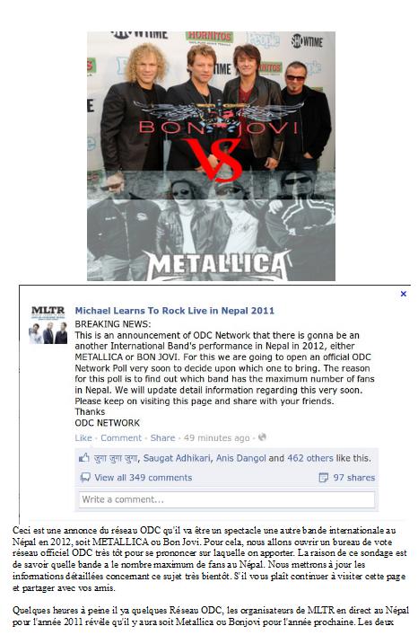 BONJOVI ou Metallica au nepal pour 2012 ?