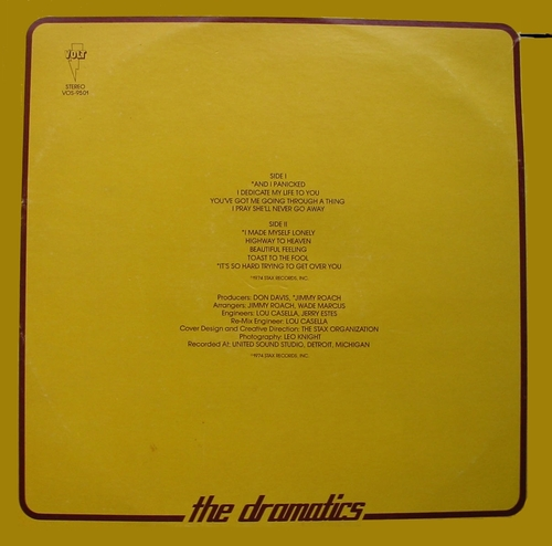 "Ron Banks And The Dramatics : Album "" Dramatically Yours "" Volt Records VOS-9501 [ US ]"