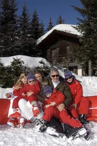 Philippe et Mathilde en famille à Verbier