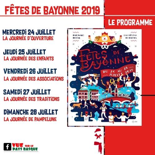 Le programme des fêtes de Bayonne 2019