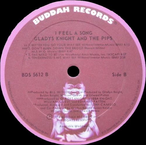 "Gladys Knight & The Pips ‎: Album "" I Feel A Song "" Buddah Records BDS 5612 [ US ] en Novembre 1974"