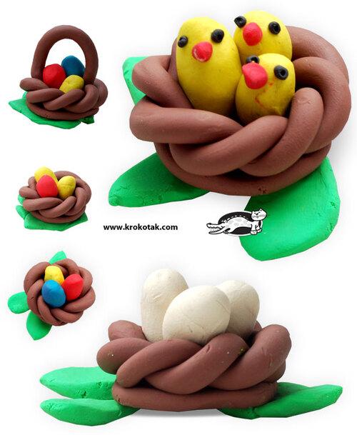 Nid de Pâques en pâte à modeler