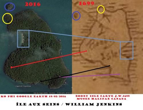 """KO PHI, """"l'île aux Seins"""" ou """"l'île aux Fous de bassan"""" par William Jenkins, 1699.(les coïncidences)(Google Earth et Musée d'Halifax)"""