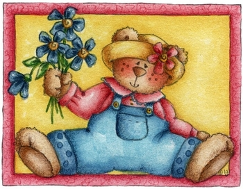 girl bear and flowers