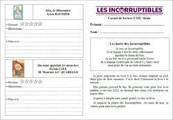 Les Incorruptibles 2021/2022 : carnets et feuilles de suivi