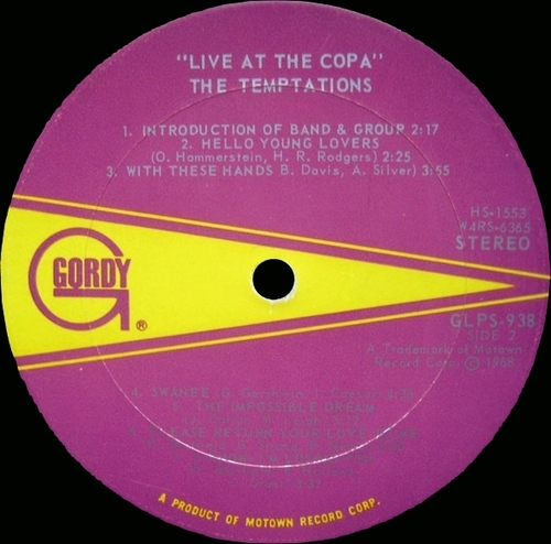 """The Temptations : Album """" Live At The Copa """" Gordy Records GLPS 938 [ US ]"""