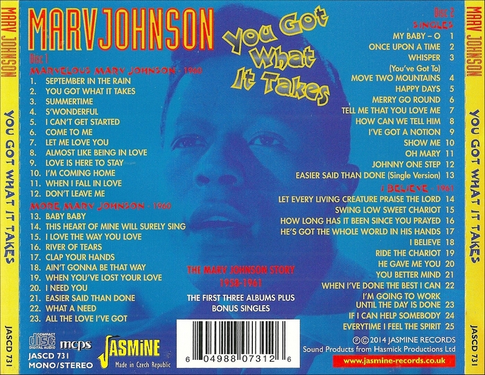 "Marv Johnson CD "" You Got What It Takes : The Marv Johnson Story 1958-1961 "" Jasmine Records JASCD 731 [ CZ ]"
