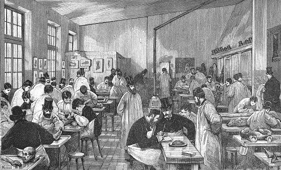 Amphithéâtre de dissection de l'enseignement libre à l'ancienne Ecole pratique, au XIXe siècle