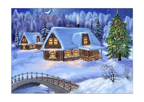 Tableau à double entrée et paysage de Noël