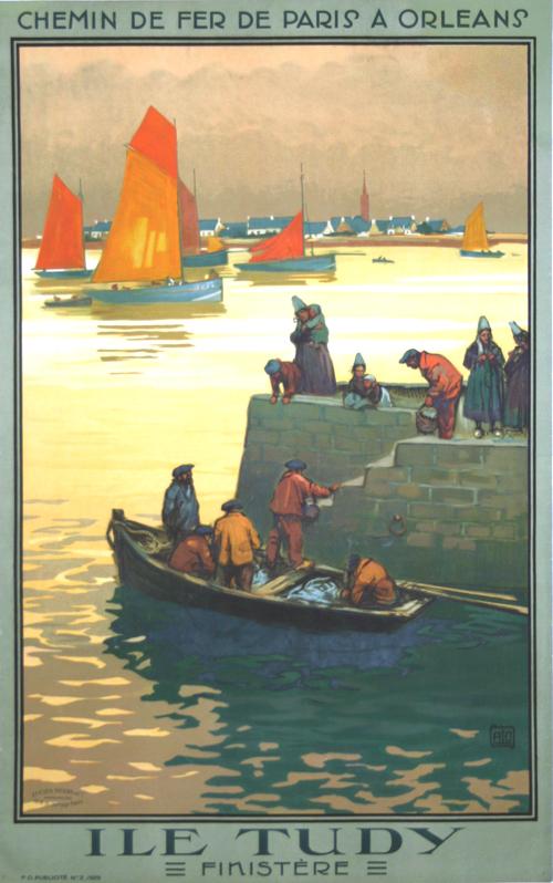 Affiche Bretagne Ile Tudy Chemin de Fer de Paris à Orléans 1929 Charles Alo