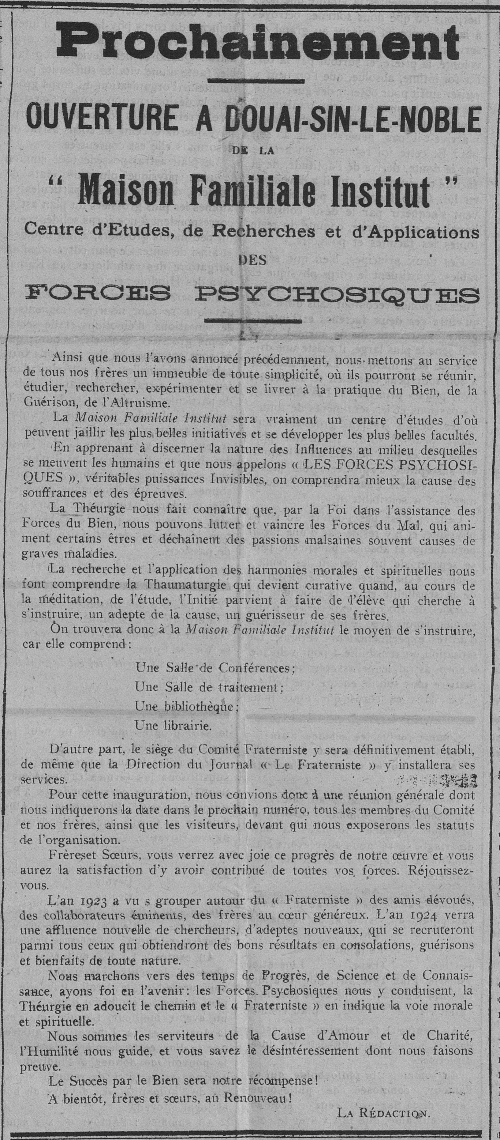 Maison Familiale Institut (Le Fraterniste, 15 décembre 1923)