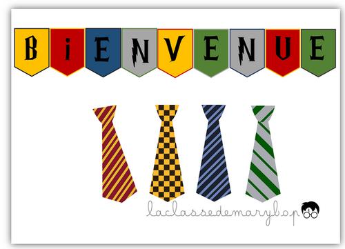 Cravates Harry Potter et bannière de bienvenue