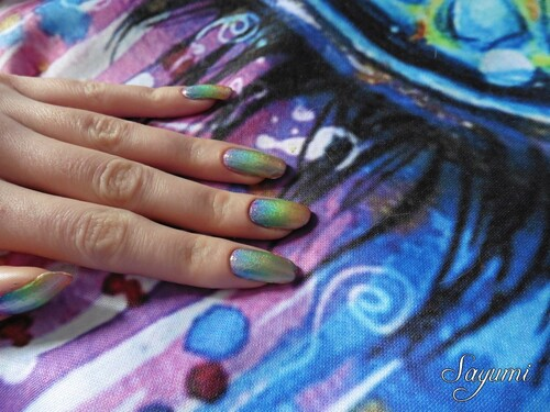 Nail Art Holographic Rainbow