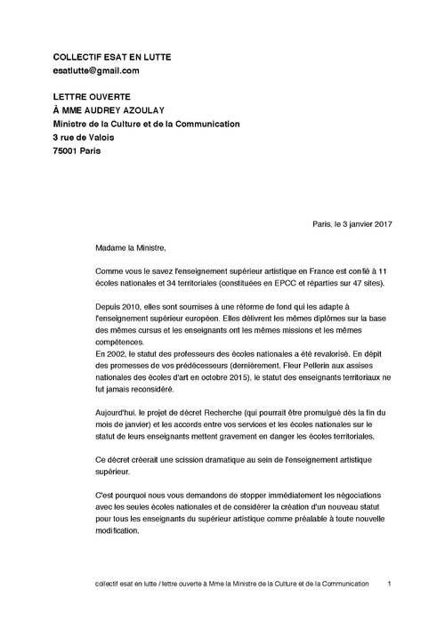 Lettre ouverte de ESAT en Lutte à la Ministre de la Culture