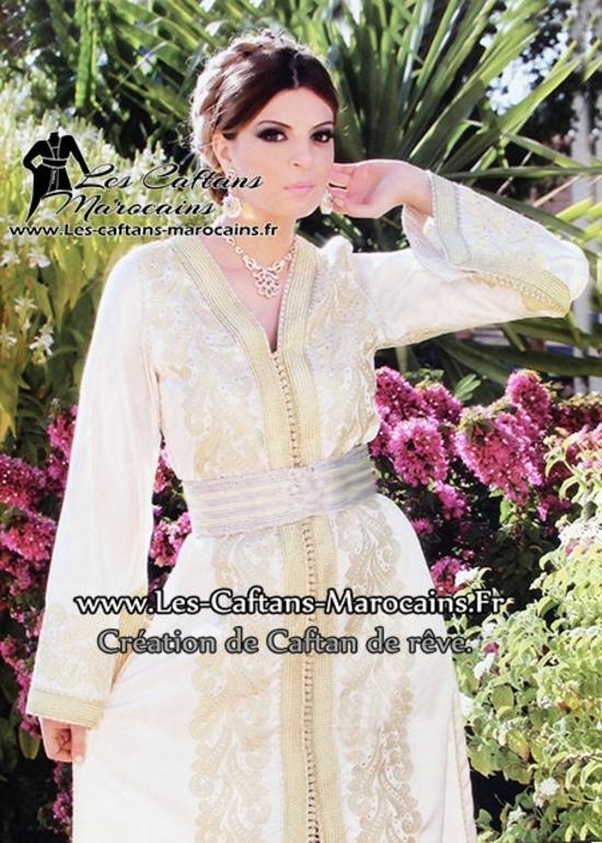 Caftan de mariée en ligne et sur mesure brodé pour mariage marocain KAF S931