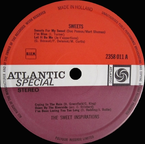 "The Sweet Inspirations : Album "" Sweets "" Atlantic Special Records 2358 011 [ NL ]"