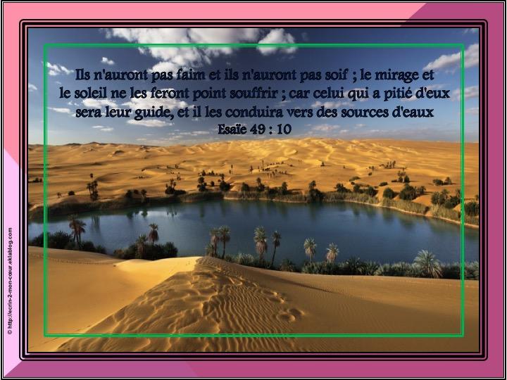 Il les conduira vers des sources d'eaux - Esaïe 49 : 10
