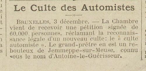 Le Culte des Automistes (Excelsior, 4 déc 1910)