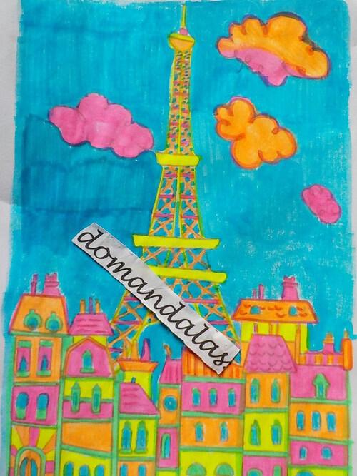 DOMANDALAS coloriage tour Eiffel et maisons Haussmann