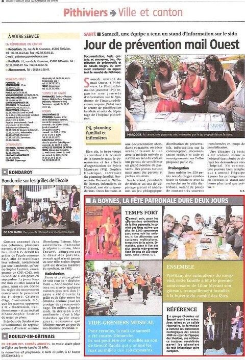 Article de la République du Centre du 3 juillet 2012