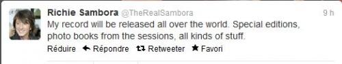 Richie sambora annonce sur twitter...