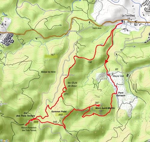 Mandelieu, Mont Saint-Martin, les Trois Termes