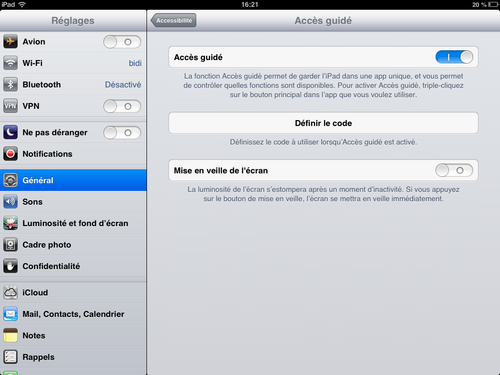 Ipad Iphone accès guidé
