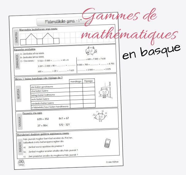 Gammes de maths CM - en basque