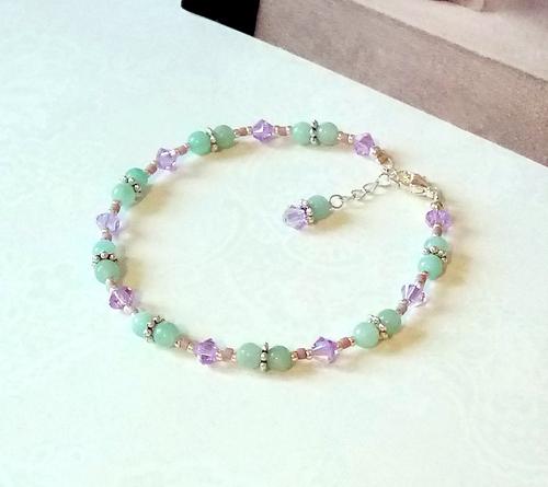 Bracelet pierre Amazonite vert d'eau 4mm et cristal de Swarovski parme AB / Plaqué argent
