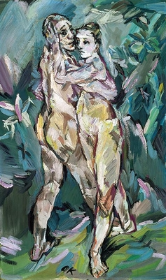 Couple amants nus 1913 Alma Mahler et lui