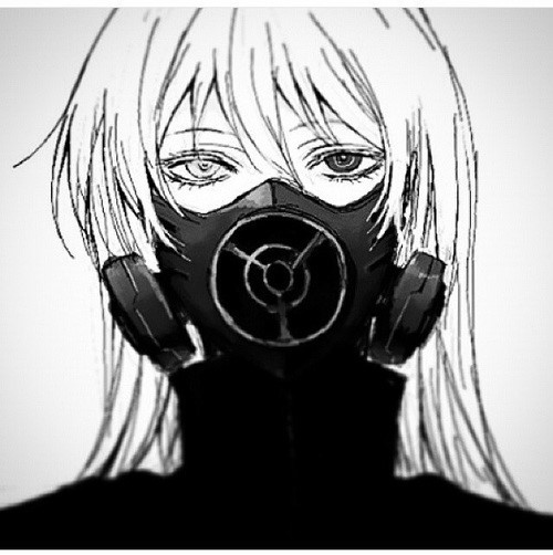 Image de anime, mask, and black and white