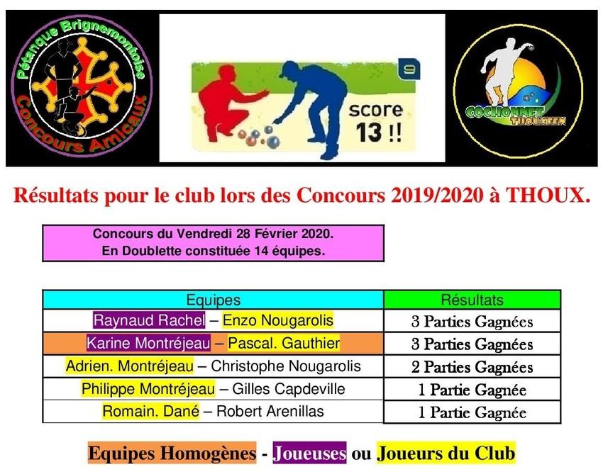 8 ième et dernier concours du Vendredi  à Thoux.