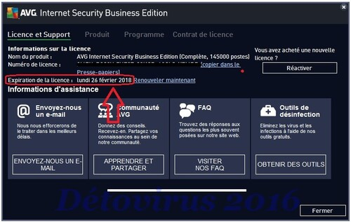 Avg Internet Security Business Edition 2016 - Licence 2 ans gratuits