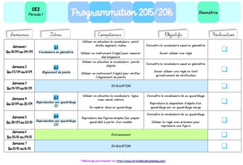 Programmations 2015-2016 en géométrie au CE2 (P1 et P2)