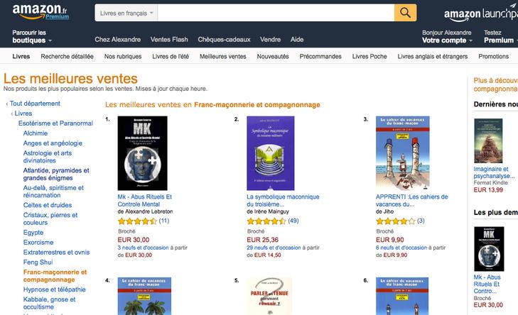 """➤ Le livre MK classé dans les best-sellers en section """"ésotérisme-paranormal"""" sur Amazon"""