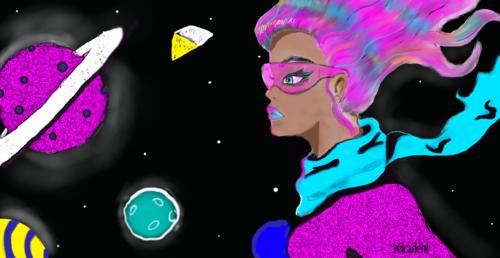 04 dessin graphique justicière de l'espace