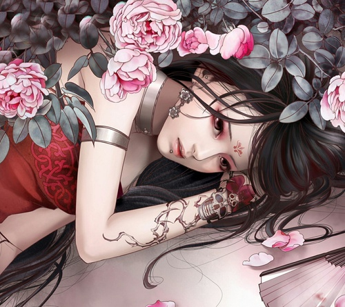 Image de anime, rose, and tattoo