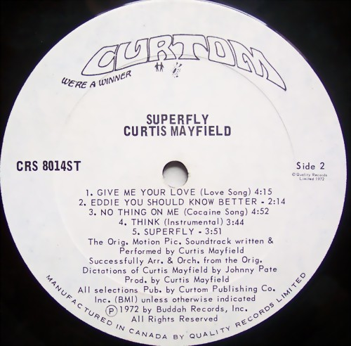 "1972 : Album "" Superfly "" Curtom Records CRS 8014 ST [ US ]"
