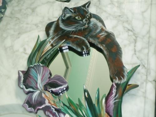 Le chat noir et les iris.