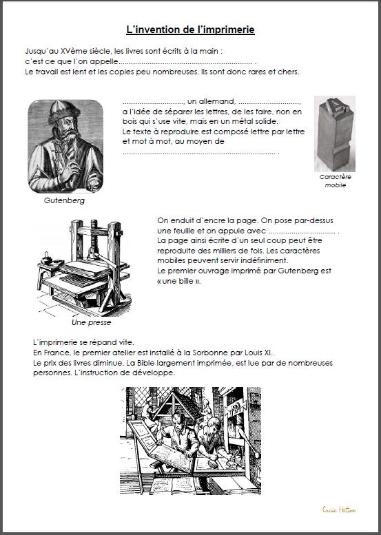 L'imprimerie de Gutenberg