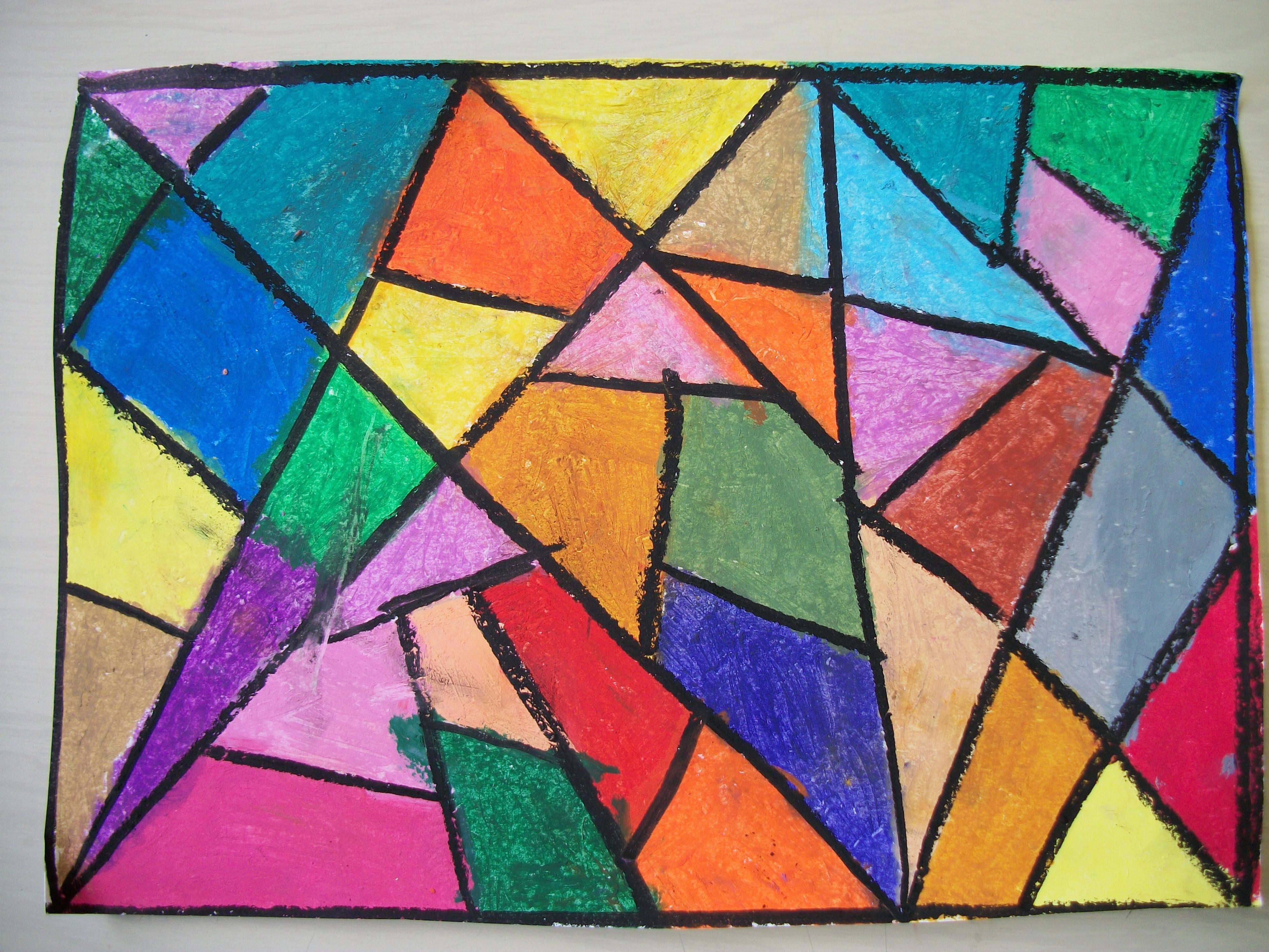 Formes et couleurs à la craie grasse