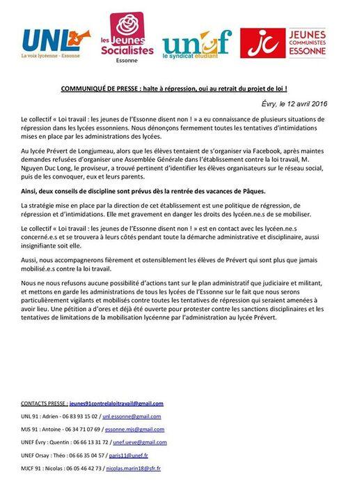Communiqué du Proviseur en réponse au communiqué de presse du collectif syndical
