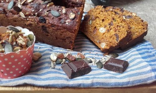 Pumpkin Bread (ou Gâteau à la courge)Petit Epeautre, Chocolat et graines {Vegan}
