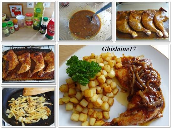 Cuisses de poulet marinées au ketchup, miel, moutarde, soja (cuites au four)