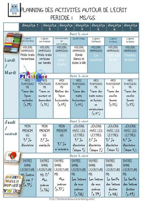 Planning des activités MS GS P1