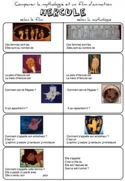 Comparer différentes version de l'histoire d'Hercule