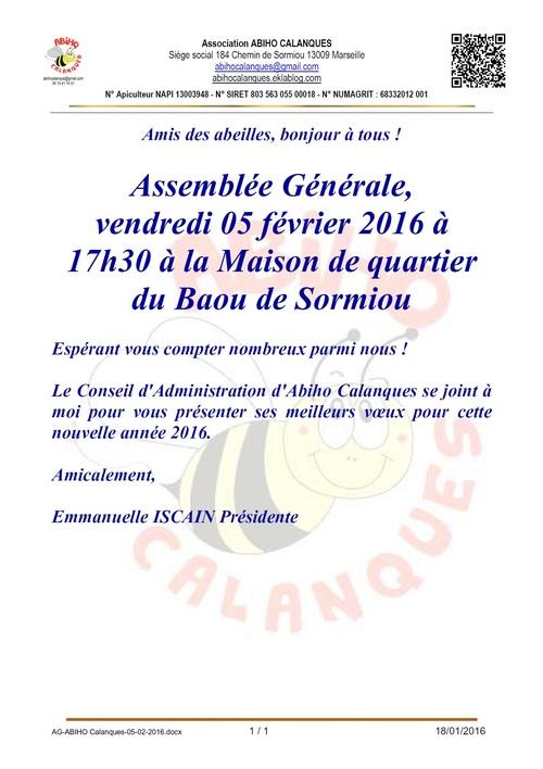 Convocation à l'Assemblée Générale 05-02-2016