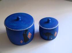 boite a coton démaquillant bois bleu motifs africains
