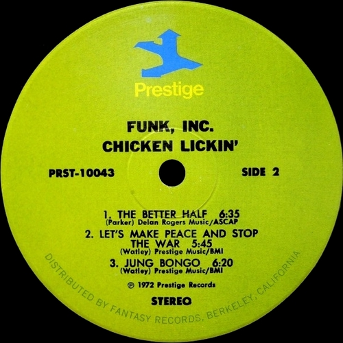 "Funk Inc. : Album "" Chicken Lickin' "" Prestige Records LP 10043 [ US ]"
